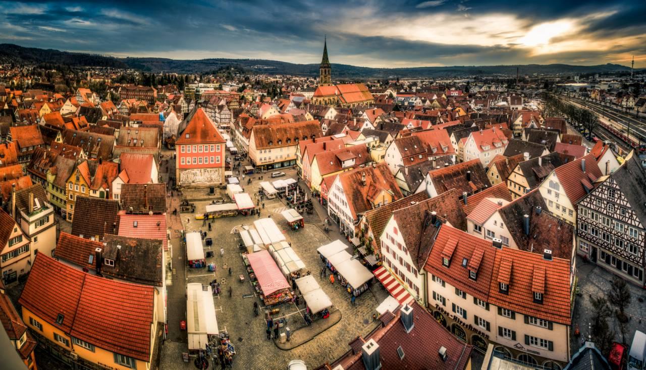 Immobilienmakler Schorndorf Blick auf die Stadt von oben